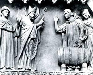 Miracolo del vino: bassorilievo nella cattedrale di Reims